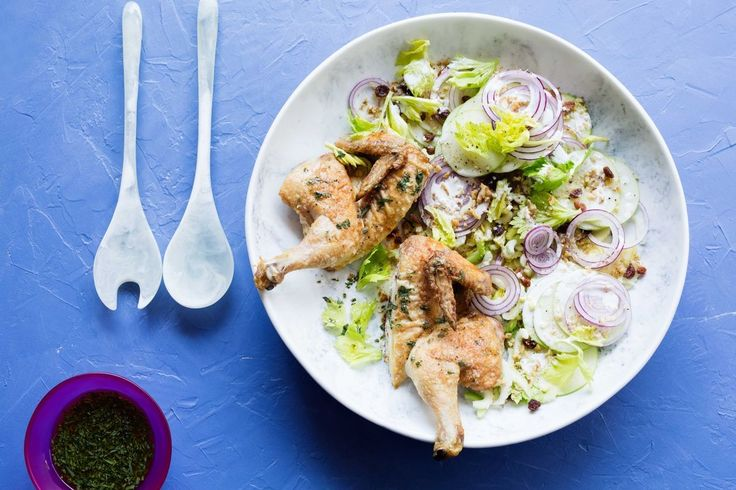 Shannon Bennett's mayo-roasted chicken with waldorf salad and tarragon is a fool proof dinner for the whole family. It's quick, delicious and packed full of flavour.
