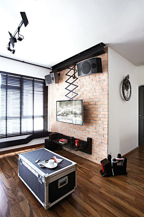 living room, television console, red brick, home, hdb flat, renovation, four room, sengkang