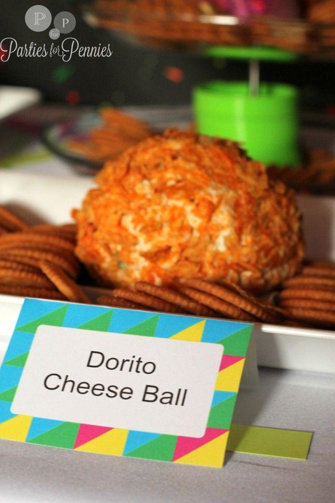 80s Party - Dorito Cheeseball recipe by PartiesforPennies.com