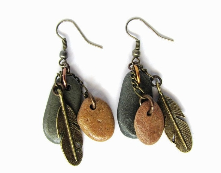 Beach Stone Earrings Brass Feather Charm River Rock Jewelry by HendysHome. $20.00, via Etsy.