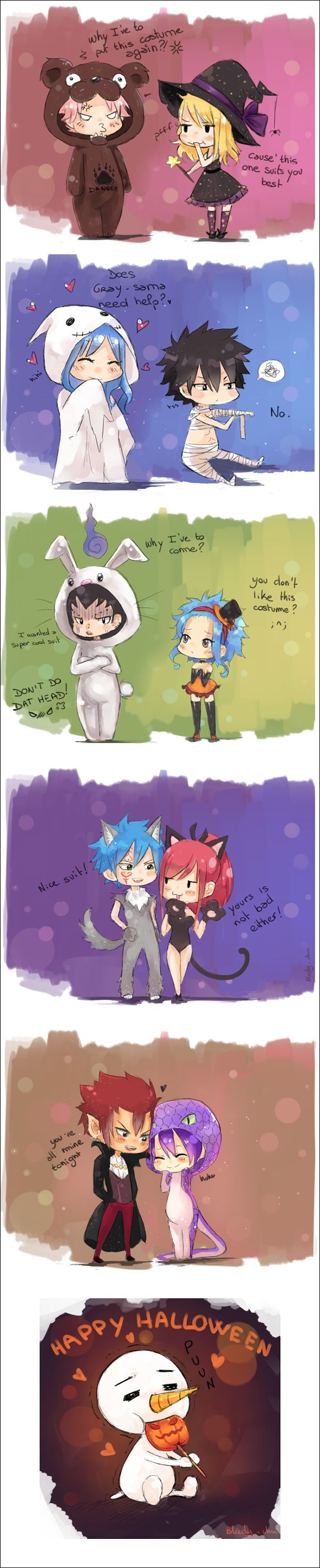 Fairy Tail - Natsu x Lucy, Gray x Juvia, Gajeel x Levy, Jellal x Erza, Cobra x Cinana - Happy halloween