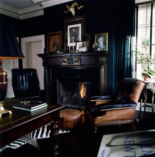 love a dark masculine room- best conversations are had in rooms like this