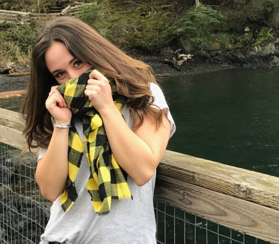 Blanket Scarf, Buffalo Plaid Blanket Scarf, Wrap Scarf, Buffalo Plaid Fringe Scarf Shawl ~ Yellow, Black