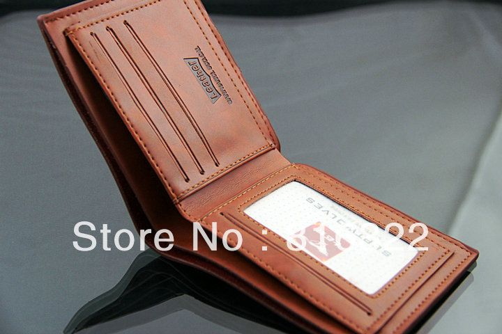 Free Shipping Genuine Cow Leather Men Wallet Purse Black Brown-in Wallets from Luggage & Bags on Aliexpress.com