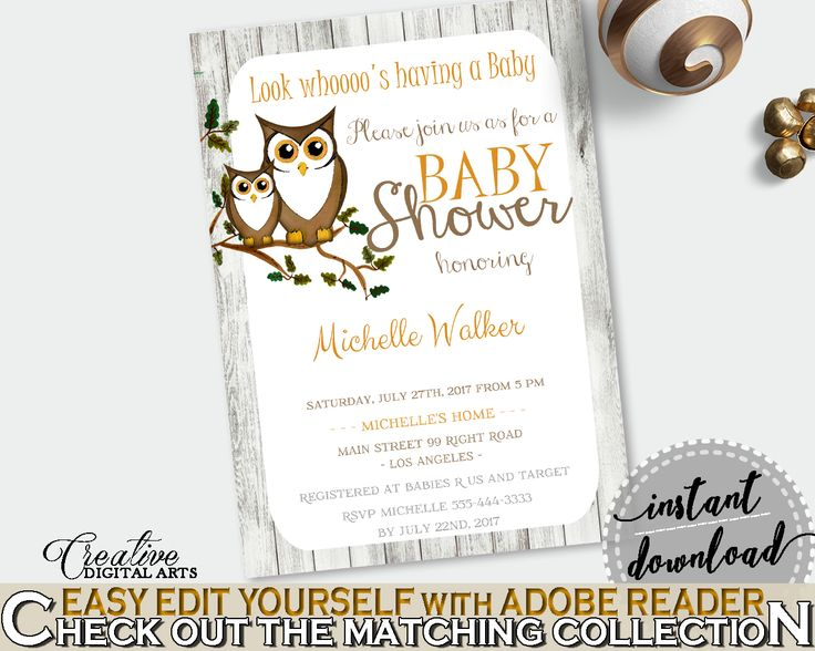 Invitation Baby Shower Invitation Owl Baby Shower Invitation Baby Shower Owl Invitation Gray Brown party theme, customizable files 9PUAC #babyshowergames #babyshower