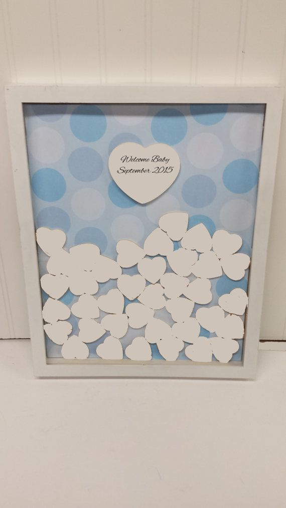 Unique Baby Shower Sign And Drop In Frame With Painted Hearts (Alternate  Guestbook) Shadow