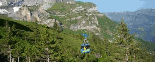 """Dwarf theme path around lake with stations to explore water, nature, solve the """"mystery"""" of the jewels.  Up Bannalp near Wolfenshiessen.  Prices:  Adults:  Fr. 21, Kids 6+ Fr. 10.50.  Includes return trip.  Halbtax not valid."""