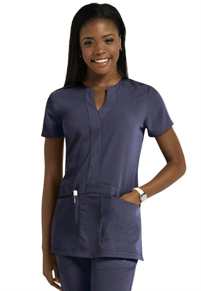 Greys Anatomy Signature 2-pocket y-neck scrub top ...