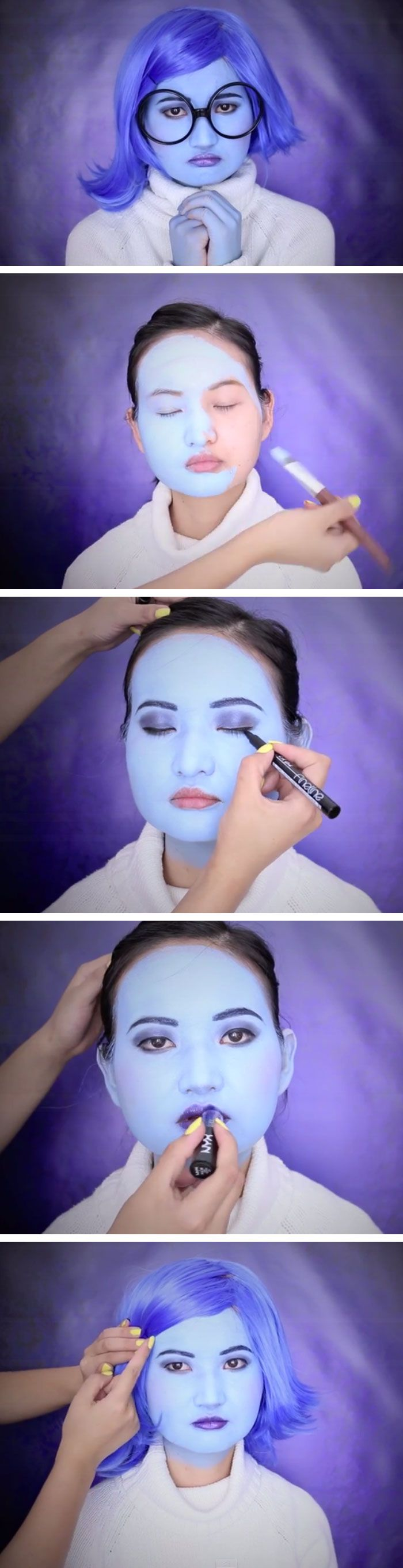 Inside Out Sadness Makeup Tutorial | Click Pic for 18 Easy DIY Halloween Costumes for Women | Last Minute Halloween Costumes for Girls