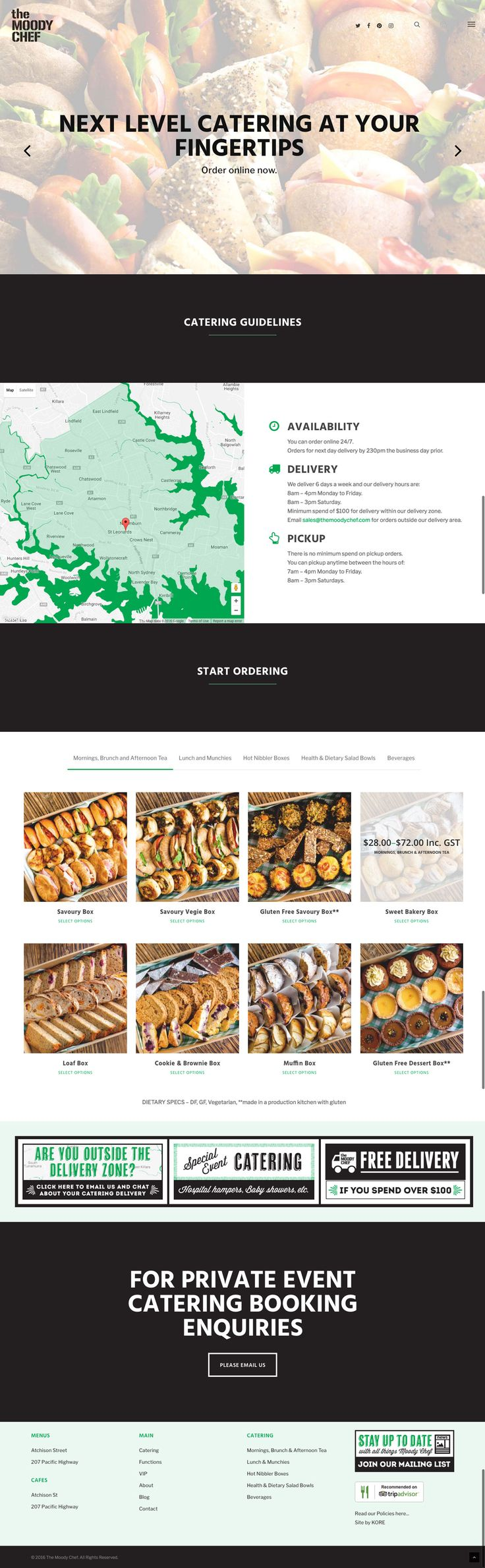 The Moody Chef's new responsive website by KORE (http://kore.digital/). Catering landing page view.