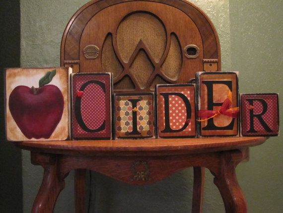 Apple Cider Word Blocks Fall Decor Sign by PunkinSeedProduction, $40.00