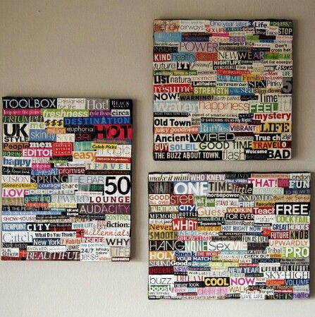 Magazine words on a canvas