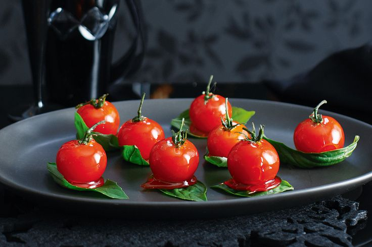 This sophisticated canape plays with taste and texture, as you bite through crunchy toffee into ripe, juicy tomato.