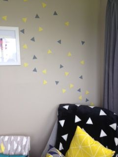 Triangle wall stickers in yellow & grey by BC Magic Wallpaper www.magicsticker.co.nz