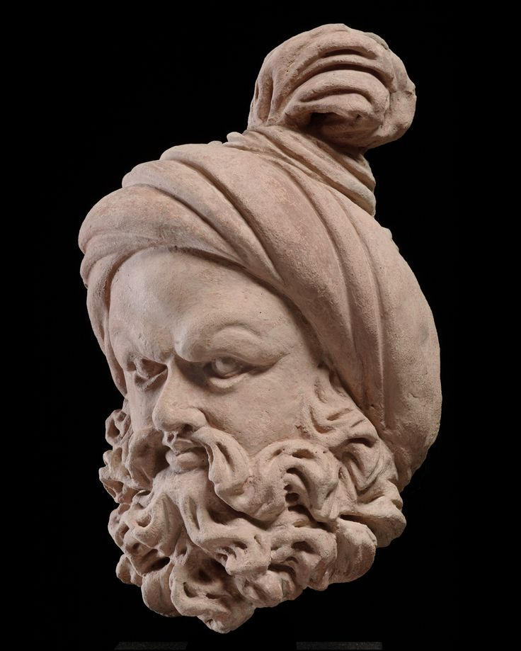 Bearded head with a knotted turban Gandhara region, 4th to 6th ...