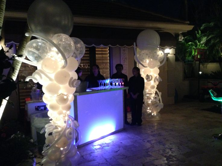 Balloon Column With Lights Backyard Party Decoration Ballooncolumn Holidayparty Newyearsparty Newyearseve