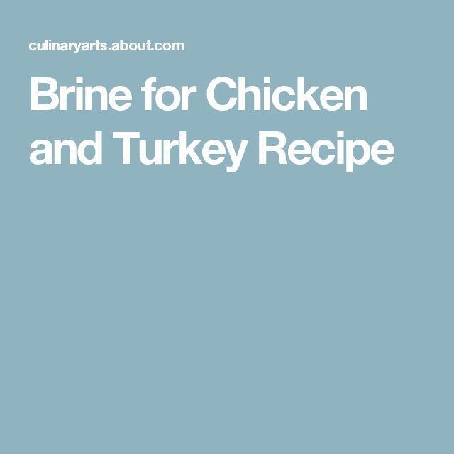 Brine for Chicken and Turkey Recipe