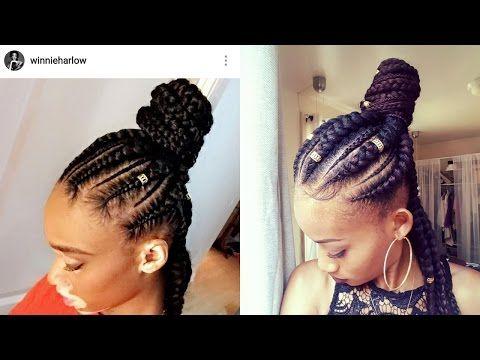 How to Jumbo Braids |Half Up Half Down| Ghana Braids| Feed-In Braids | Beginner Friendly - YouTube