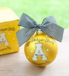 Any fan will love this Appalachian State Logo Ornament. You'll be proud to showcase your school pride during the holiday season with this spirited ornament featuring the Appalacian State logo and school colors!  All collegiate ornaments come boxed and tied with a coordinating ribbon making them the perfect gift for anyone.