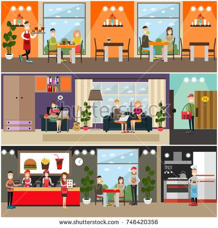 Vector set of fast food flat posters, banners with quick service restaurant or cafe interior, professional staff and visitors. People making online order from home, courier with red delivery bag.