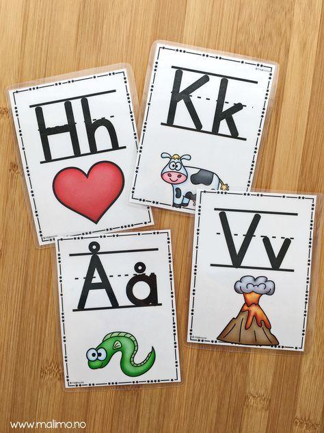 Bokstavkort/plakater! Ulike varianter av flere bokstaver. Fine til å øve på bokstavene. Versjoner med røde/blå bonstaver for konsonanter og vokaler også. Ulike skrifttyper.