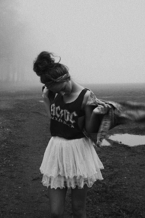 rock n roll | style | fashion | ACDC | cute | black & white | top knot