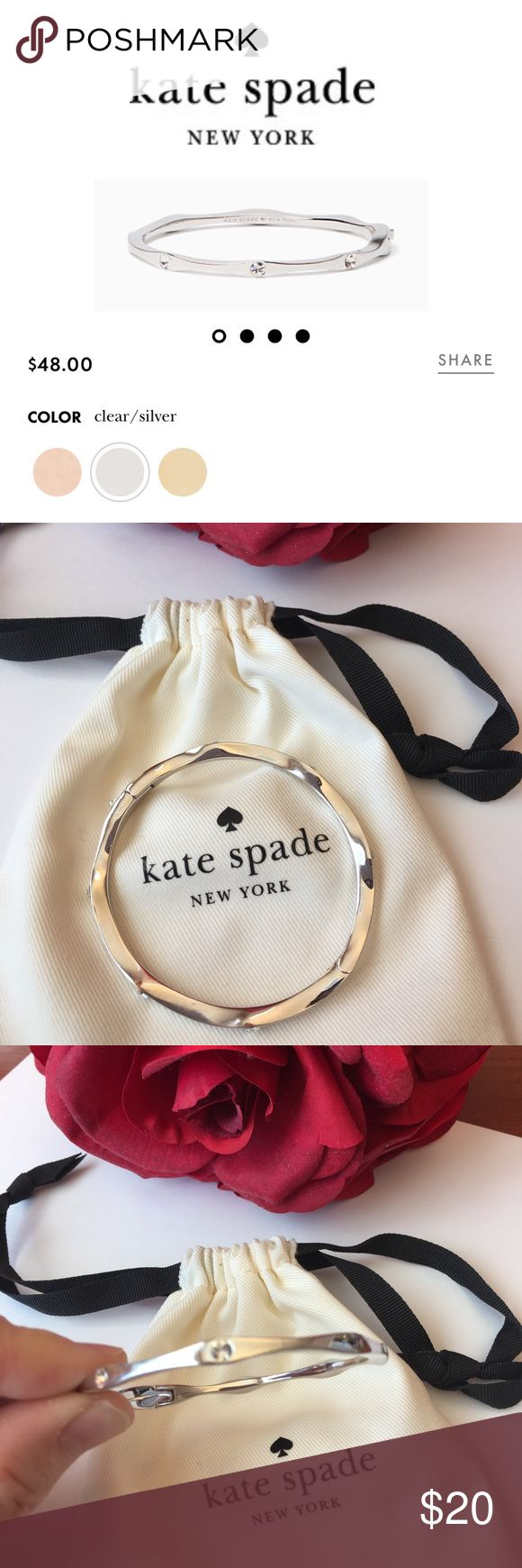 Kate Spade Heavy Metals Silver Bracelet A few tiny scratches on it, but can certainly be polished off! Comes with dustbag - perfect addition to your arm stack - it's very pretty!!! kate spade Jewelry Bracelets