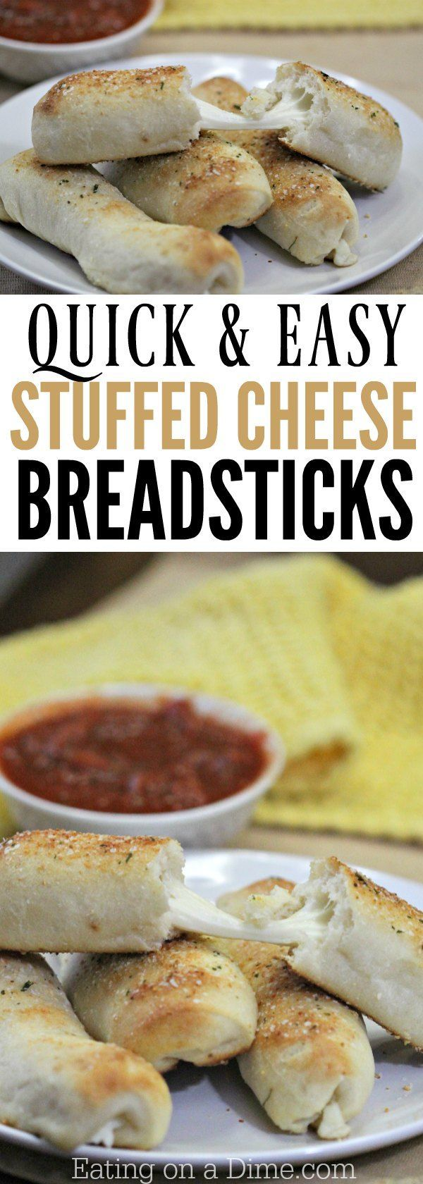 Everyone will love when you serve this Garlic Bread Cheese Sticks Recipe. Garlic bread meets cheese sticks to a delicious breadstick stuffed with cheese. Your new favorite appetizer recipe!