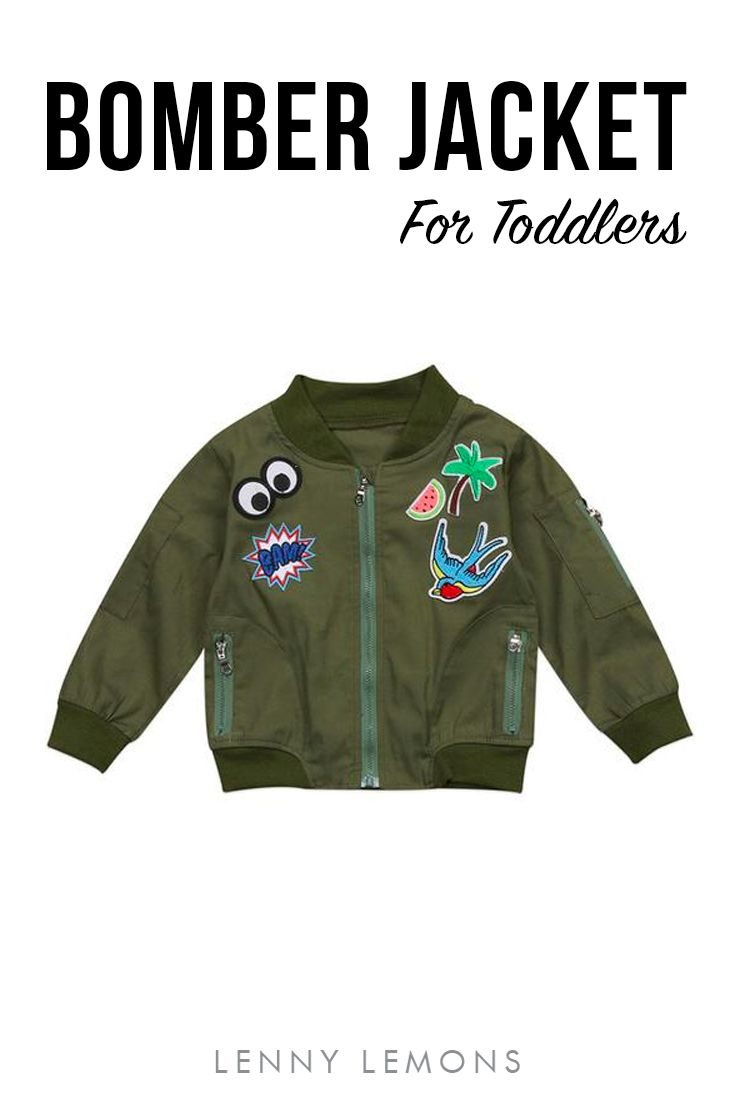 FREE US SHIPPING! UP TO 70% OFF. Trendy Bomber Jacket For Toddlers. Bold olive with patches that pop. Cotton and polyester blend. Full length sleeves. Zipper front. Lenny Lemons, Babies and Toddler Apparel #toddler #bomberjacket #lennylemons