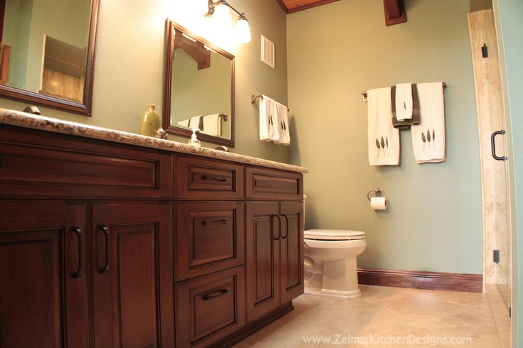 Custom dream bathroom cherry cabinets and travertine for Bathroom design visit