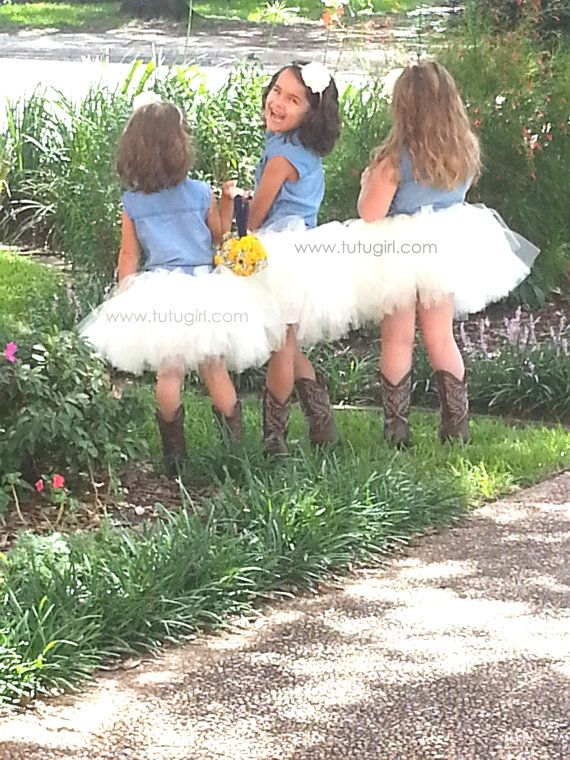 Flower Girl Tutu Skirt Ivory Rustic Tutu Cream Tulle by TutuGirl