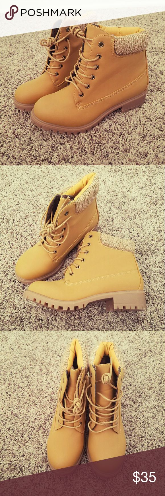 Tan Boots Adorable Timberland style boots. Brand new with box. Boutique  Shoes Ankle Boots & Booties