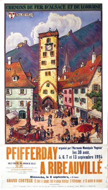 """chemins de fer d'alsace et de lorraine -Ribeauvillé -  illustration de Hansi de 1924/25 - """"Pfifferday"""" a Ribeauvillé en 1935 -"""