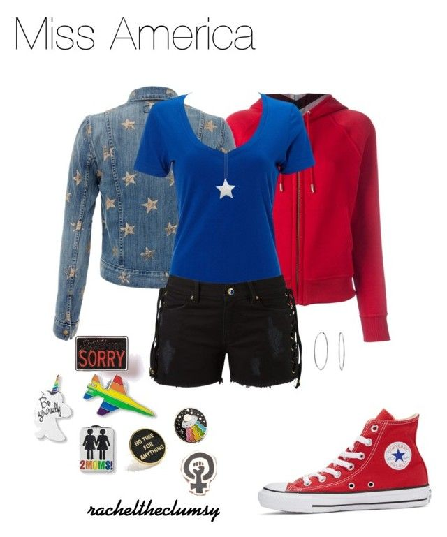 """Miss America (Marvel Young Avengers) Outfit"" by rachelsilvers on Polyvore featuring Burberry, Current/Elliott, Simplex Apparel, Amapô, design *by Imre Bergmann, Converse, Bling Jewelry, Explorer's Press, Felt Good Co. and Big Bud Press"