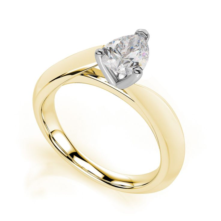 1 Ct pear cut handmade designer diamond ring with duo-tone setting and band. Choice of 9K/14K/18K white, yellow and rose gold, platinum and palladium.  Product No: PY11012