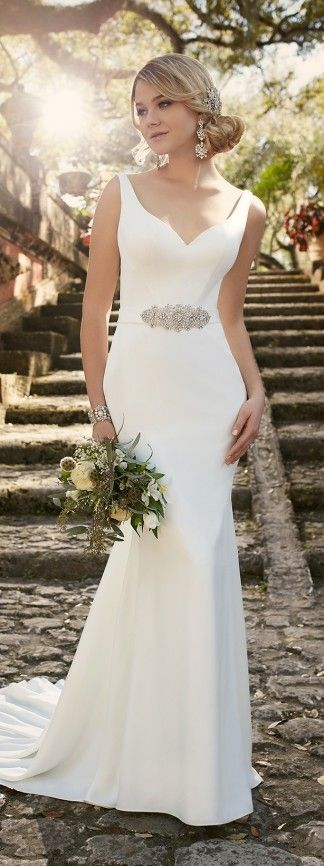 Super chic gown, I would probably do with a different belt. Love the sweetheart neckline with thick straps. Wedding dress by Essense of Australia Spring 2016 Bridal Collection