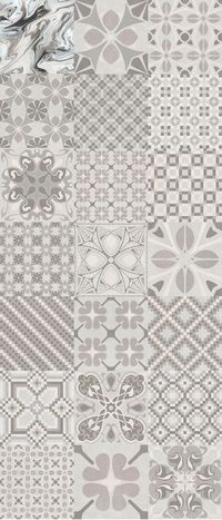 Carrelage imitation anciens carreaux de ciment décor gris 20x20 cm