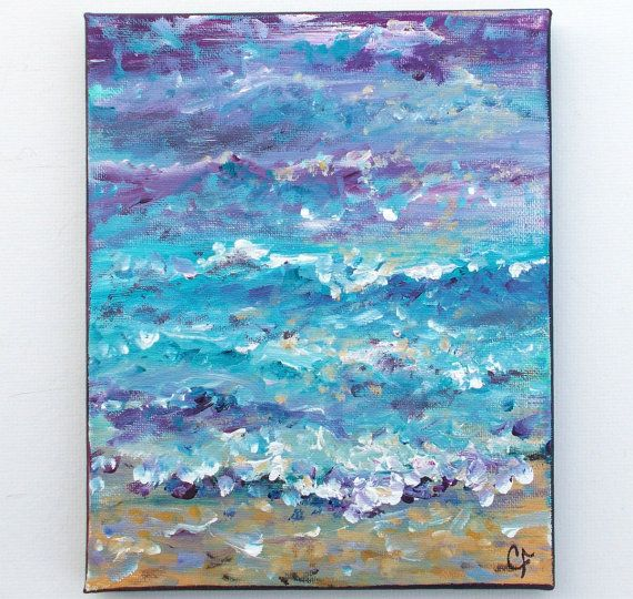 Beach painting ocean painting impressionist by TheEscapeArtist, $45.00