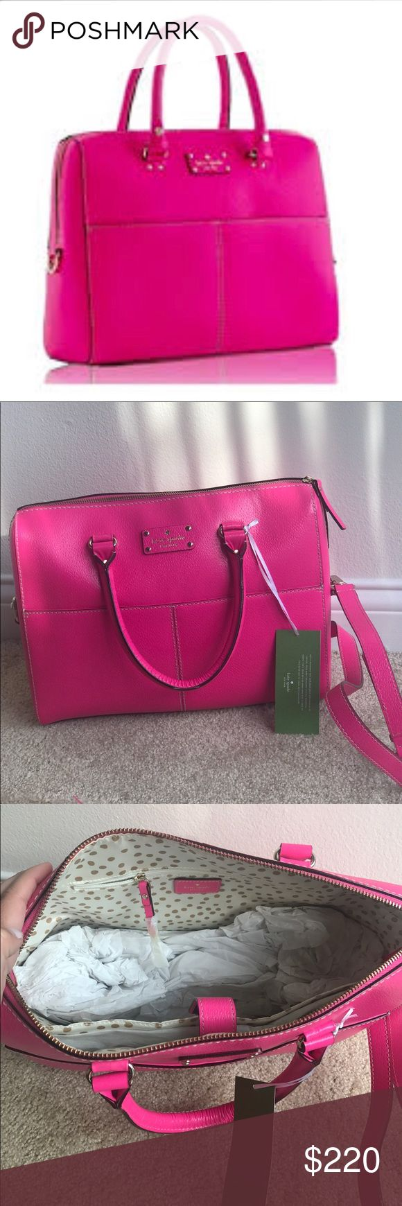 Kate Spade Laptop Briefcase New! Never used Kate Spade laptop briefcase or work bag. Perfect for traveling. Has two size straps. Tags still on and has been stored in separate bag to preserve color and material. kate spade Bags Laptop Bags