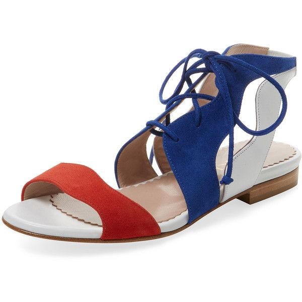 Aperlai Women's Lace-Up Suede Two-Piece Sandal - Size 35 ($189) ❤ liked on Polyvore featuring shoes, sandals, multi, laced sandals, laced up flat sandals, flat sandals, laced shoes and stacked heel sandals