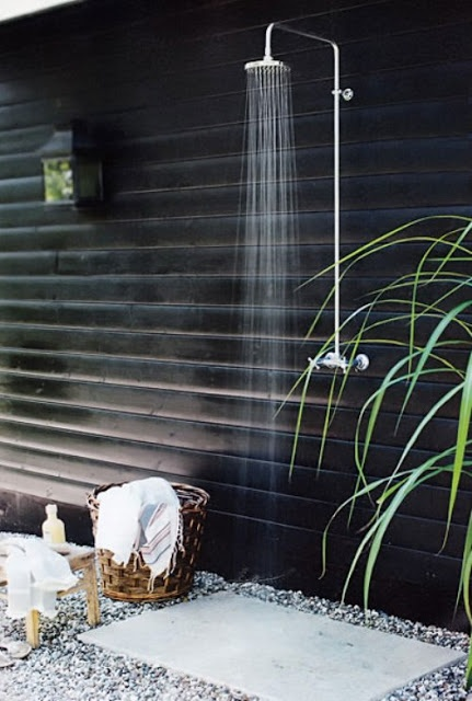 Simple idea, easy to set up, looks chic and would definitely do the job as an outdoor shower.