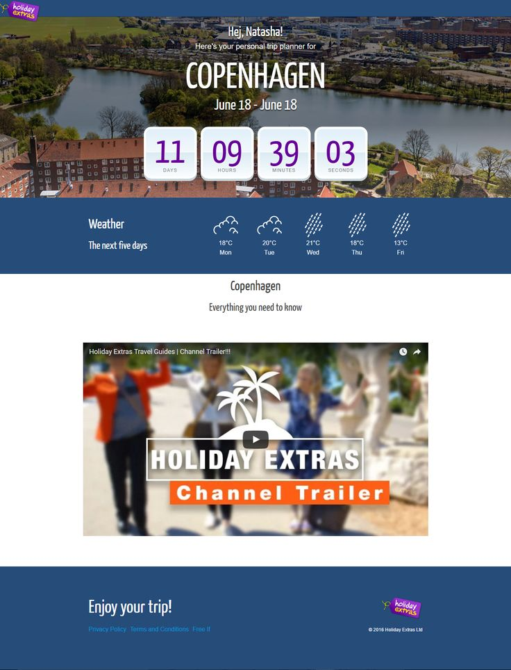 Holiday Extras Countdown Timer to start of trip, including personalization, weather and video guide. #Web #Marketing #Digital #Countdown #Timer #Personalization #Video #Weather