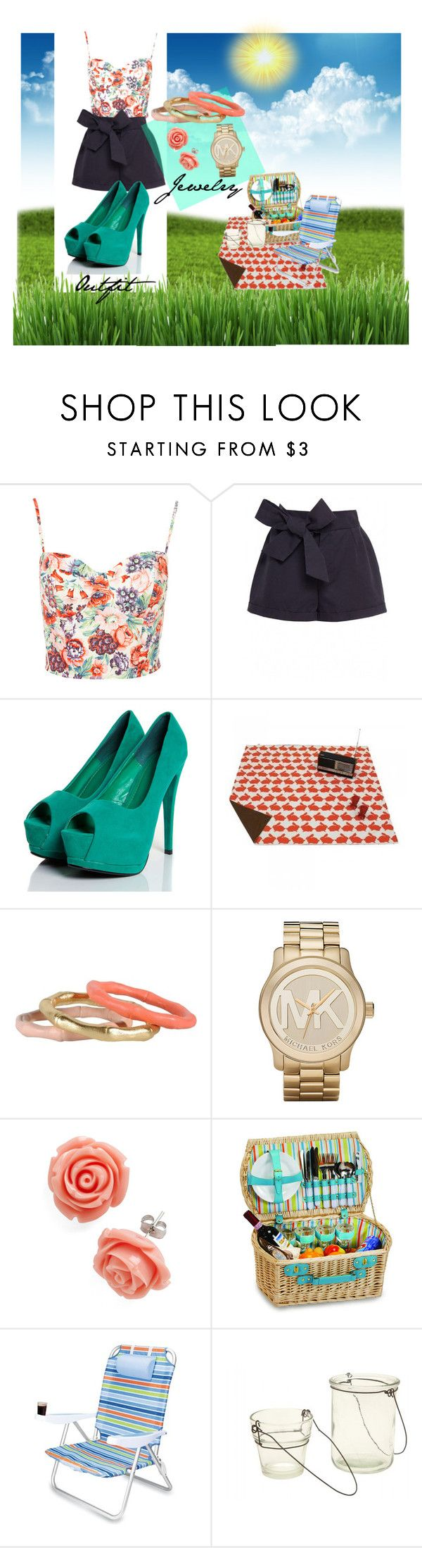 """Picnic date outfit"" by melgg ❤ liked on Polyvore featuring Twenty8Twelve, Natalia Brilli, Michael Kors, Jayson Home, watch, arm candy, floral corset, high waisted shorts, romantic and high heels"