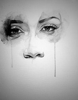 Verlorene Zeichnung Kunst Mädchen Schwarz und Weiß depressive Depression traurig einsame Augen weiß