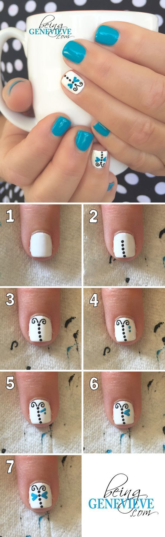 Dainty Dragonflyl   Step-by-step tutorial on how to create this dainty dragonfly nail art design. This is the perfect manicure for any summer nail design. . .: