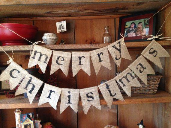 Burlap Merry Christmas Bunting, Burlap Bunting, Pennant, Garland, Christmas Decor, Holiday Decor, on Etsy, $28.00