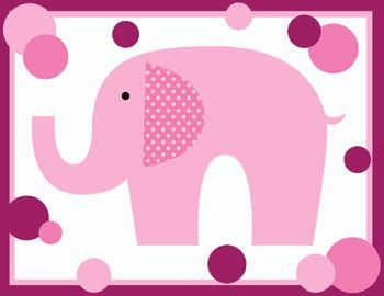 PINK MAGENTA POLKA DOT ELEPHANTS BABY GIRL NURSERY WALL BORDER
