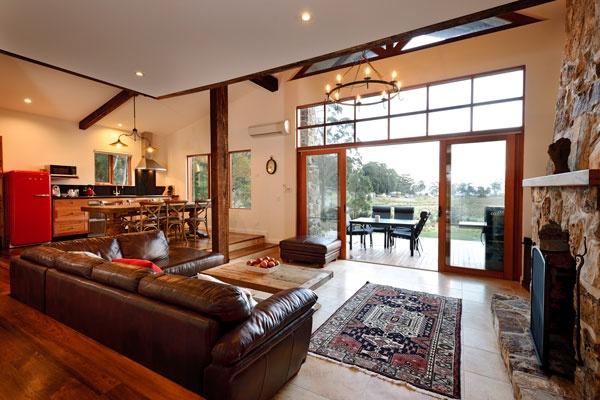 Open plan interior in the Lodge, Adventure Bay Retreat, Bruny Island.