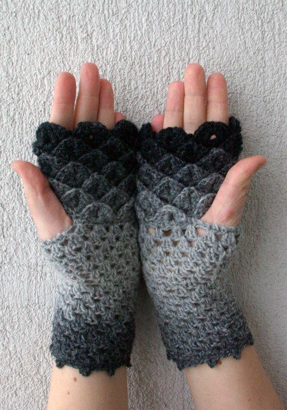 Fingerless gloves crochet mittens black and white by mareshop