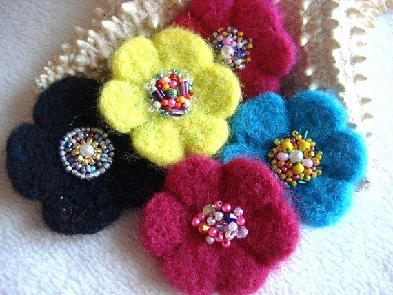 Needle Felting Tutorial, Dry Felting, Daisy, Flower Making Tutorial, Felt, Felting, How to Needle Felt a Flower, How to Make Flowers, PDF